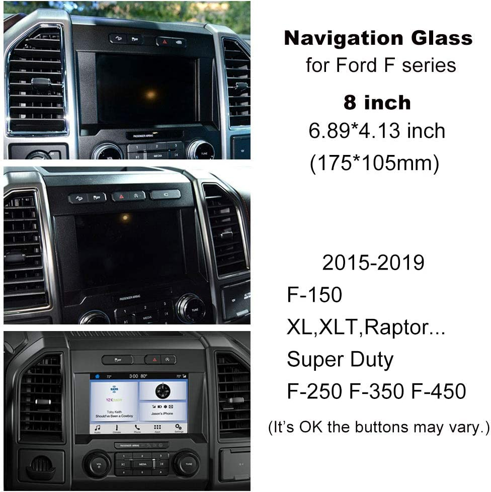 6.89/×4.13 Inch Navigation Tempered Glass Screen Protector for Ford F-150 F-250 F-350 F-450 Super Duty 15 16 17 18 19 GPS Screen Film Accessories for Ford F150 XL XLT Raptor F Series BUENNUS 8