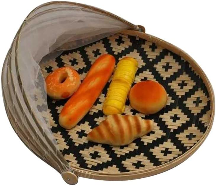 Hand-Woven Bamboo Food Serving Tent Basket, Fruit Vegetable Bread Cover Storage Container Outdoor Picnic Food Cover Mesh Tent Basket with Gauze(Bug- proof, Dust-proof)Keep Out Flies, Bugs, Mosquitoes