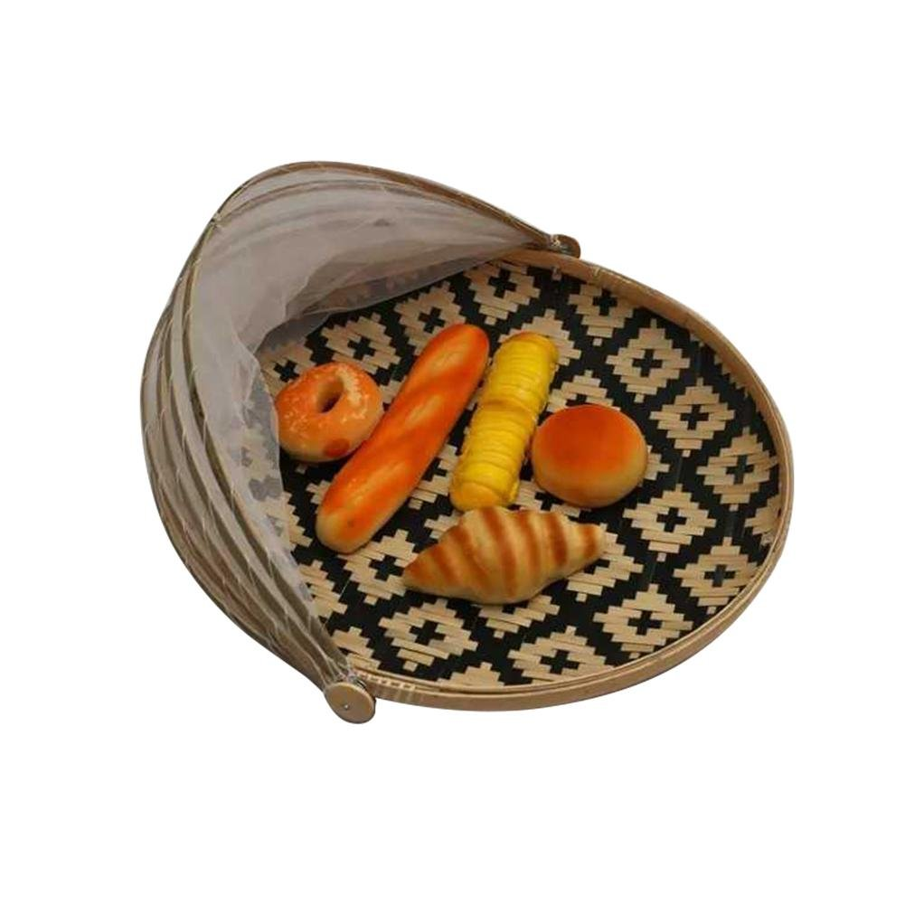 Hand-Woven Bamboo Food Serving Tent Basket, Fruit Vegetable Bread Cover Storage Container Outdoor Picnic Food Cover Mesh Tent Basket with Gauze(Bug- proof, Dust-proof)Keep Out Flies, Bugs, Mosquitoes blue--net