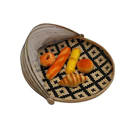 Hand Woven Bamboo Food Serving Tent Basket, Fruit Vegetable Bread Cover Storage  Container Outdoor Picnic Food ...