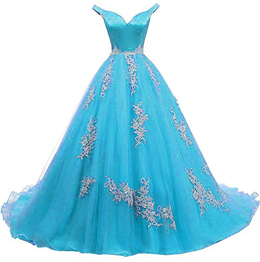 bluee MariRobe Women's lace Applique Quinceanera Dresses 2019 Off The Shoulder Prom Dress Backlesss Evening Dress Prom Gown