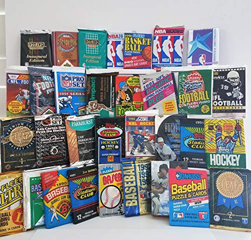 Over 200 Cards in 20 Vintage unopened Baseball, Football, Basketball, Hockey wax packs from various brands ranging in years 1988 to 1999. Guaranteed autograph or memorabilia card per box!