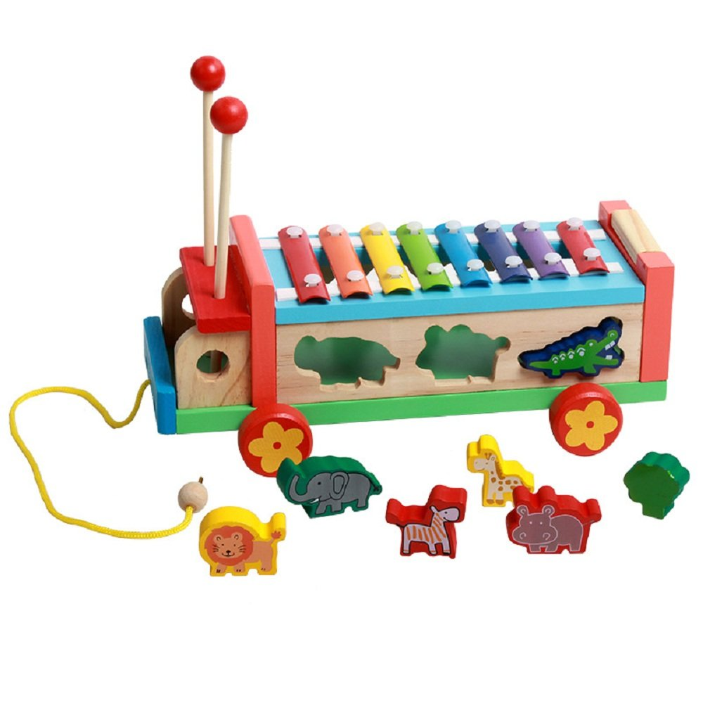 Wooden Push Pull Along Toy Animal Shape Match Sorter Multifunctional Wheel Bus with Guoqin octave Hand knock Xylophone
