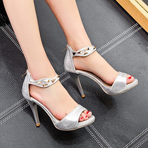 Sandali Con Tacco A Spillo Da Donna Con Zip Alla Caviglia E Cinturino Alla Caviglia, Argento-bianco