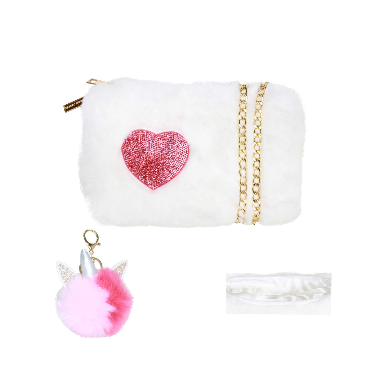 American Jewel Spirit Vibe Faux Furry Purse with Cross Body Chain and Pom Pom Keychain - White with Red Heart
