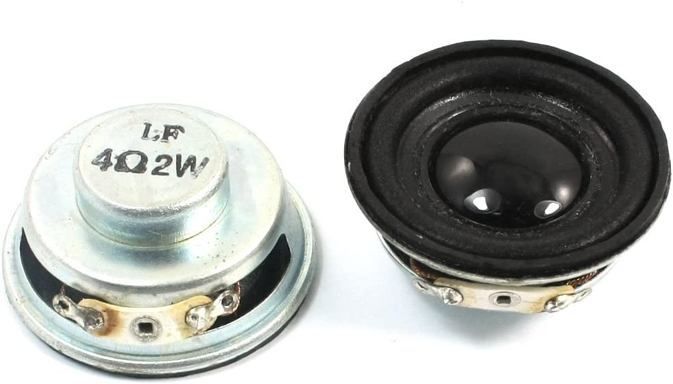 2W 4 Ohm 40mm Dia Aluminum Shell Internal Magnet Speaker Amplifier x 2