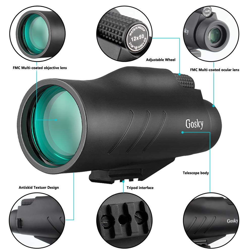Gosky 12x50 Ultra HD Monocular with Picatinny Rail for Rifle-2019 New Waterproof Hunting Monocular with Scope Mounting Base Rifle Rail and Smartphone Holder for Hunting Survival Wildlife Bird Watching by Gosky (Image #4)