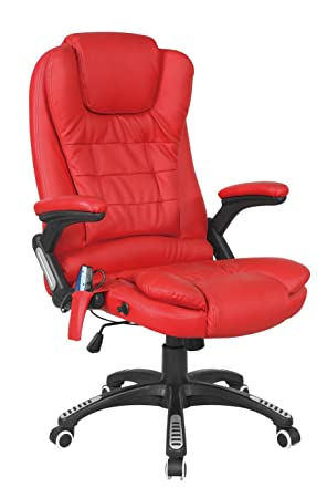 foxhunter westwood luxury leather 6 point massage office computer chair reclining high back red new