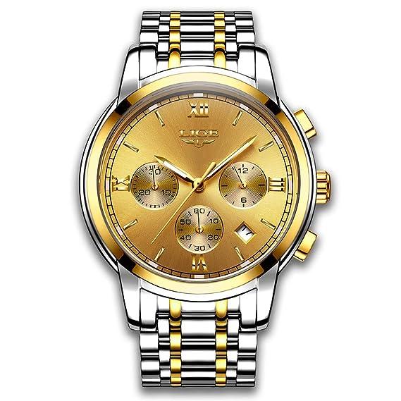 ae6f5abb3d85 Relojes para Hombres Marca de Lujo LIGE Reloj analógico de Cuarzo para  Hombre Impermeable Acero Inoxidable Reloj Deportivo Hombre Oro Reloj De  Vestir De ...