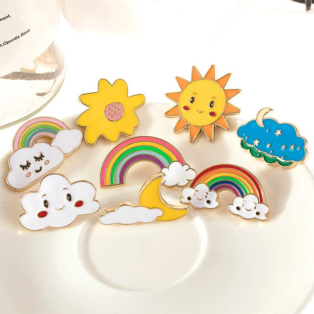 CAROMAY 4 PC Happy Weather Lapel Pin Set Brooches Sun Clound Rainbow Enamel Breastpin Badge for Student Backpack Jacket