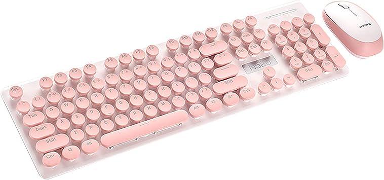 Vococal Packs de Teclado y ratón Moda Retro Máquina de Escribir Estilo Inalámbrico 104 Teclas Teclado Teclado Teclado Teclado con Ratón Lindo para PC ...
