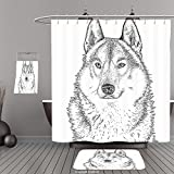 Uhoo Bathroom Suits & Shower Curtains Floor Mats And Bath TowelsAnimal Wildlife Woods Winter Animal Wolf Dog Sketchy Hand Drawn Image Artwork Print Black and WhiteFor Bathroom