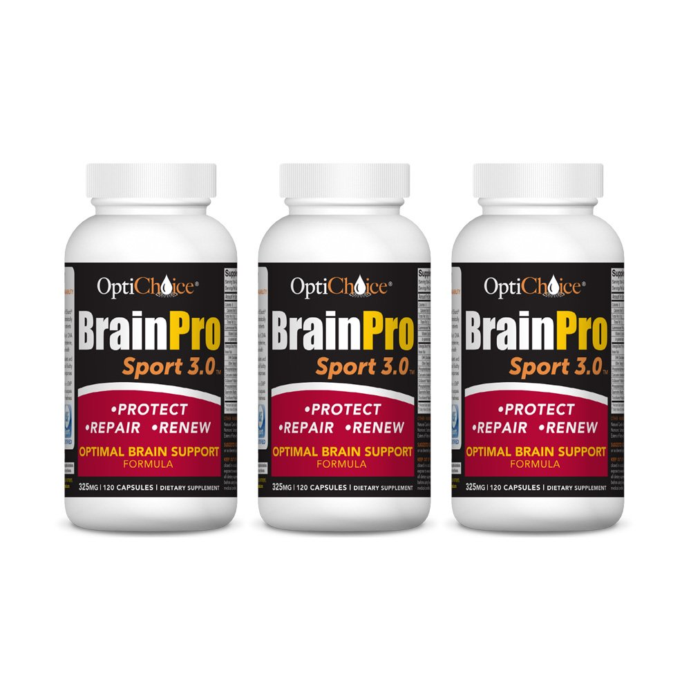 Optichoice® Brain Pro Sport 3.0 - Optimal Brain Support Formula - Produced in a Cgmp NSF Sport Certified Facility - Made in USA - 325mg – 120 Capsules/softgels (3 Pack)