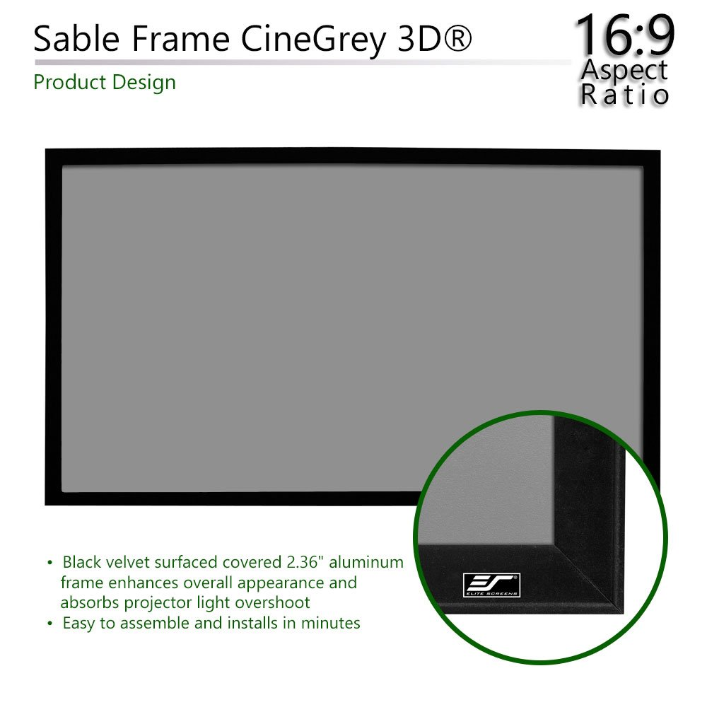 Sound Transparent Perforated Weave Fixed Frame Projection Projector Screen Er120wh1 A1080p3 120 Inch Diagonal 16 9 Elite Screens Sable Frame Series Accessories Supplies Screens