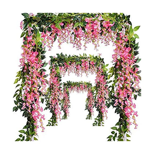 Miss Bloom Artificial Wisteria Vine – 12-Pack 3.6 Ft Spring Hanging Flowers Décor | Silk Plants Garlands for Sweet Home Kitchen Wall |Fake Plant Rattan for Outdoor Wedding Party Decorations (Pink)