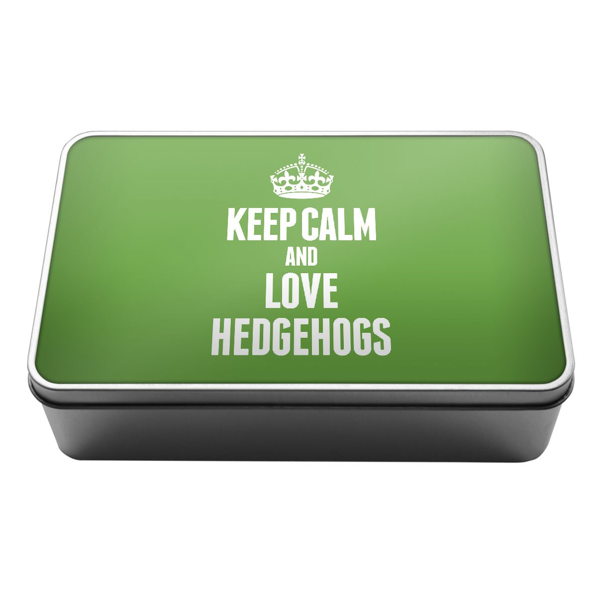 GREEN Keep Calm and Love Hedgehogs Metal Storage Tin Box 2436 Duke Gifts