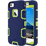 ULAK iPhone 5S Case, iPhone SE Case 3in1 Shockproof Combo Hybrid Hard Rigid PC + Soft Silicone Protective Case Cover for Apple iPhone SE/5S/5 (Yellow + Navy)