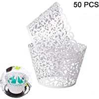 50pcs (±5) Cupcake Wrappers Lace Cupcake Liners Laser Cut Cupcake Papers Cupcake Cups Cases for Wedding/Birthday Party Decoration (50pcs/set, white)
