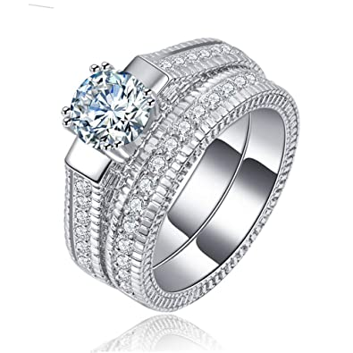 Amazon.com: Carffany Wedding Band Engagement Ring Set For Women 925 ...