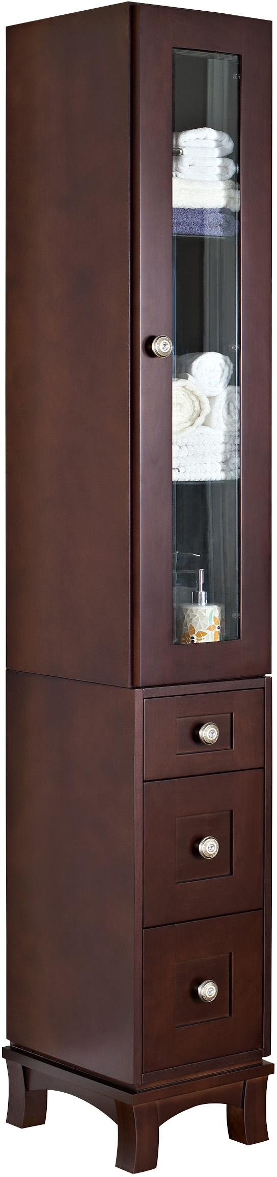 American Imaginations Rectangle Shape Transitional Linen Tower, Comes with a Lacquer-Stain Finish in Coffee Color