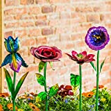 Ivy Home Spring Floral Outdoor Statement Flower Garden Stake, 4 Assorted