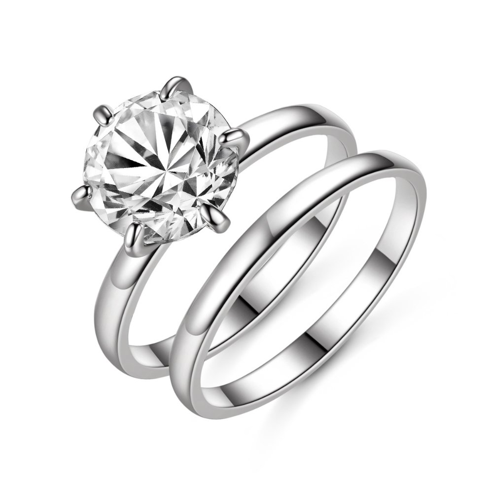 ailov 2.75 Ct Classic Round Solitaire Engagement Ring Promise Wedding Band 9mm Cubic Zirconia Bridal Set (Silver, 5)