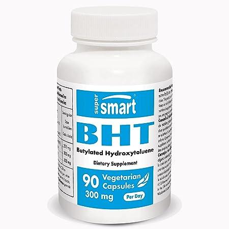 Supersmart - BHT 300 Mg - Butylated Hydroxytoluene - Powerful Antioxidant - Anti Aging Supplement | Non-GMO & Gluten Free - 90 Vegetarian Capsules