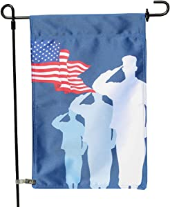 Vispronet Saluting Troops Double Sided Garden Flag, Patriotism Outdoor Decorative Flag for Homes, Yards, and Gardens, 12 x 18 Inch (Flag Only)