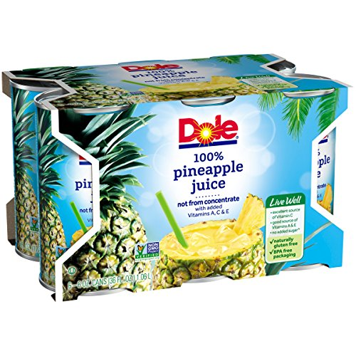 Dole 100% Pineapple Juice, 6 Ounce Can (Pack of 6), Pineapple Juice in Individual-Serving Cans, Great for Smoothies Drinks Marinades Desserts and More by Dole (Image #5)