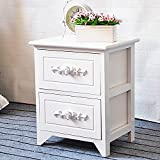 DL furniture - Fully Assembled Tone Finish Night Stand 2 Drawer Storage Shelf Organizer | White