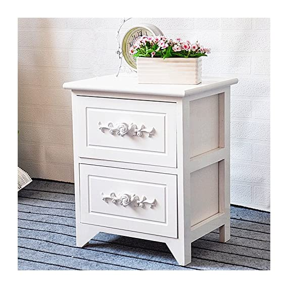 Jerry & Maggie Nightstand - 2 Tier Curving Pattern Sides Night Stand Storage Bedside Table with 2 Drawer Real Natural Paulownia Wood (2 Tier | Flower Curving) - MATERIAL - Real Natural Natural Paulownia Wood - Natural | No Scent | Non-toxic | Wood Texture Surface FUNCTION - NO Assembly Request - 2 Wood Drawer with aluminum handles - easy to storage personal accessories - flat wood top perfect for placing plants | table lamp | book | makeup accessories CONSTRUCT - 4 short & flat bottom legs protect your floor from stretching - extra large and smooth top surface allows placing more items and perfect to touch - nightstands, bedroom-furniture, bedroom - 61hLYlQE%2B7L. SS570  -