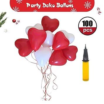 Herzluftballo Hochzeit Party Deko Rot Weisse 100 Luftballons