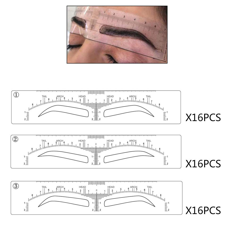 3 Different Shapes Microblading Mapping Ruler Sticker Eyebrow Shaping Stencils Disposable Adhesive Eyebrow Template Microblading Supplies Permanent Makeup Measure Tool (48 pieces)