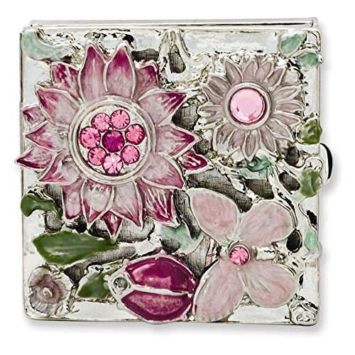 Silver-tone Textured Pink Enameled Floral Square Brass Pillbox (Enameled Italian)