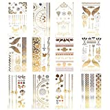 Xcellent Global Premium Metallic Temporary Tattoos 10 Sheet Shimmer, Shiny Gold & Silver for Necklaces Bracelets Arm Band and Ankle M-BT012