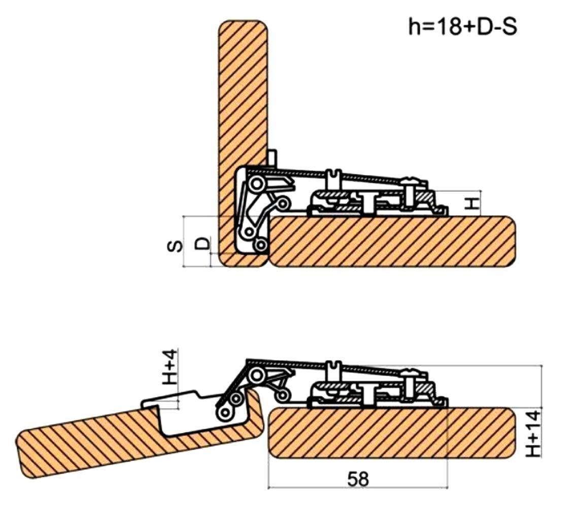 AERZETIX 4 charni/ères Invisibles 110/° pour Porte de Meuble en Applique recouvrement Total C41037