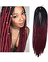Linghang Hair(6 Packs/lot) Ombre Goddess Faux Locs Crochet Braids Hair Extension Soft 2 Tone Dreadlocks Hollow Havana Synthetic Wig (18 inch,Black & burgundy Color)