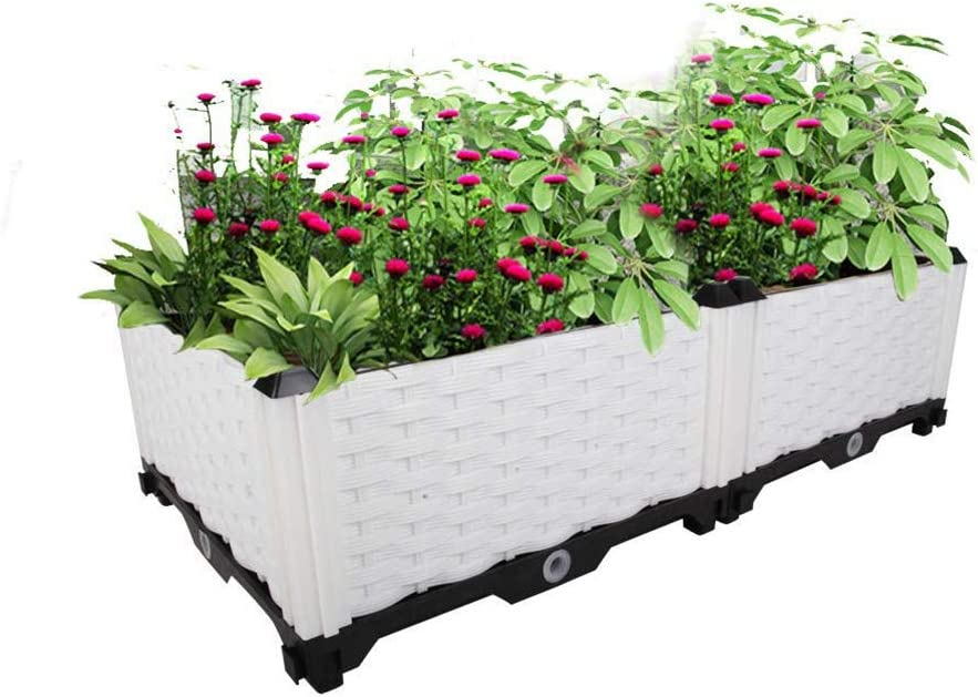 Hershii Plastic Rectangular Raised Garden Bed Indoor Outdoor Planter Box Kit Container for Growing Vegetables, Plants, Herbs, Flowers & Succulents - White - 30.7 X 15.35 X 8.66 Inches