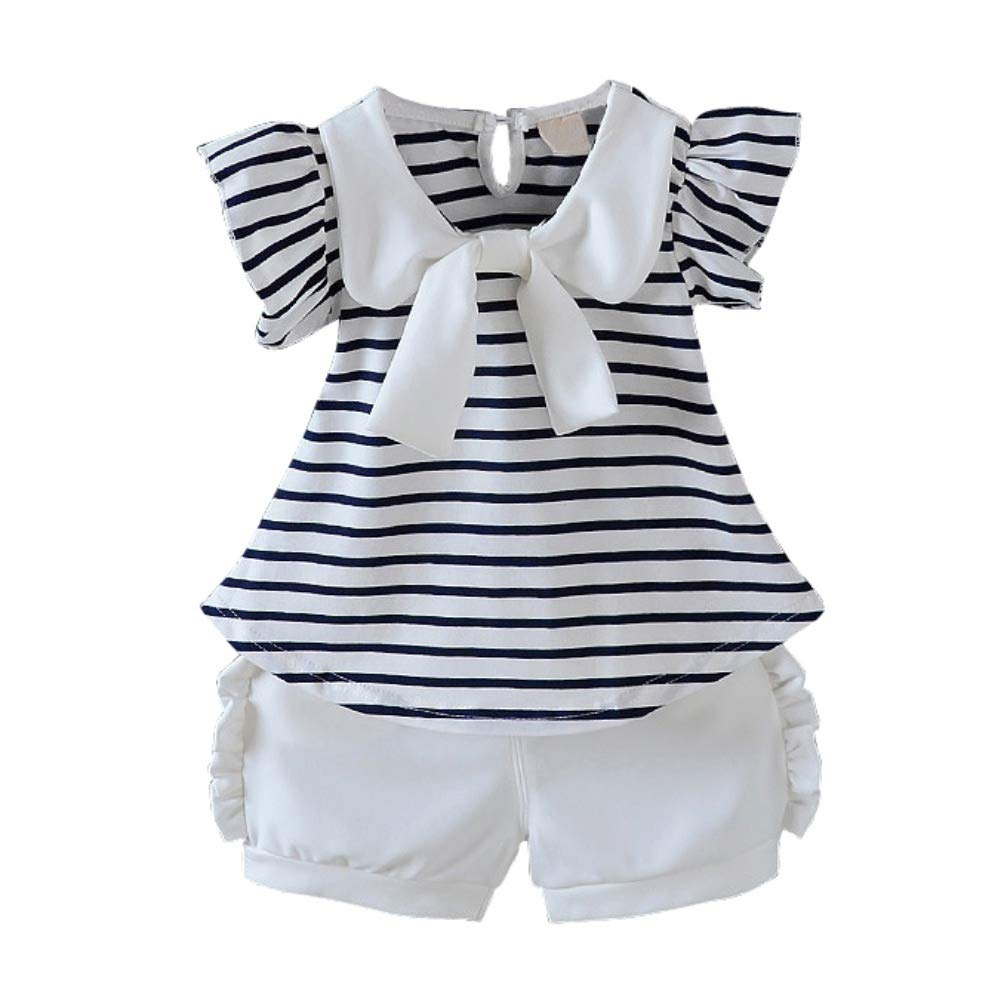 Elastic Waist White Shorts Clothes Set Weixinbuy Toddler Baby Girls Stripe Bowknot T-Shirt Top
