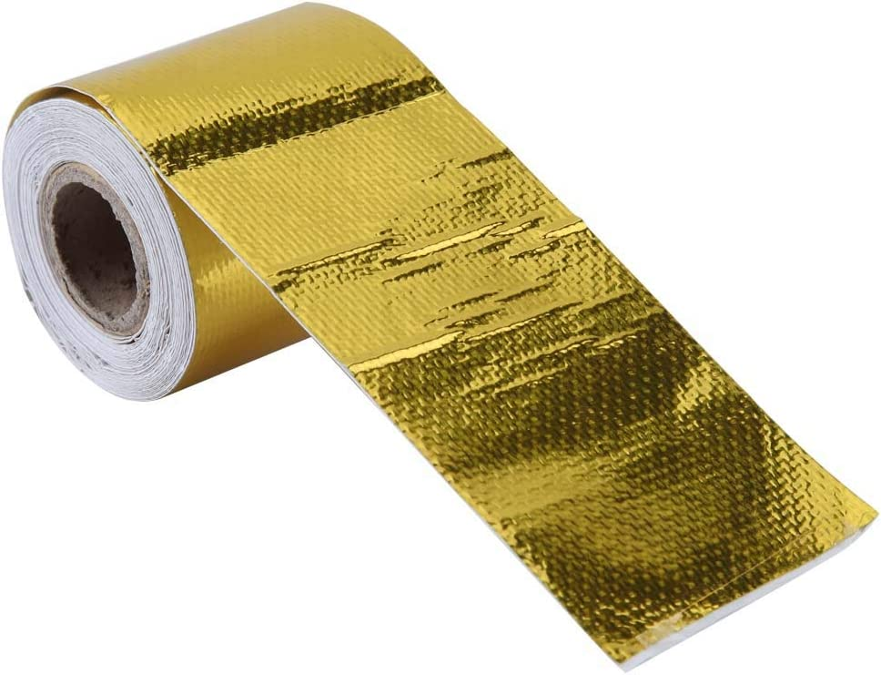 Fydun 5m Aluminiumfolie Klebeband 5cm Auto Aluminiumfolie Kleber Reflektierende Hitzeschild Wrap Tape f/ür HLK-Rohrisolierung Gold 5M * 5Cm