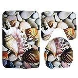 Moolecole Beach Seashells Starfish Sand Bath Mat Holidays Summer Bathroom Carpet Rug Non-Slip 3 Piece Toilet Mat Set Pebble Conch