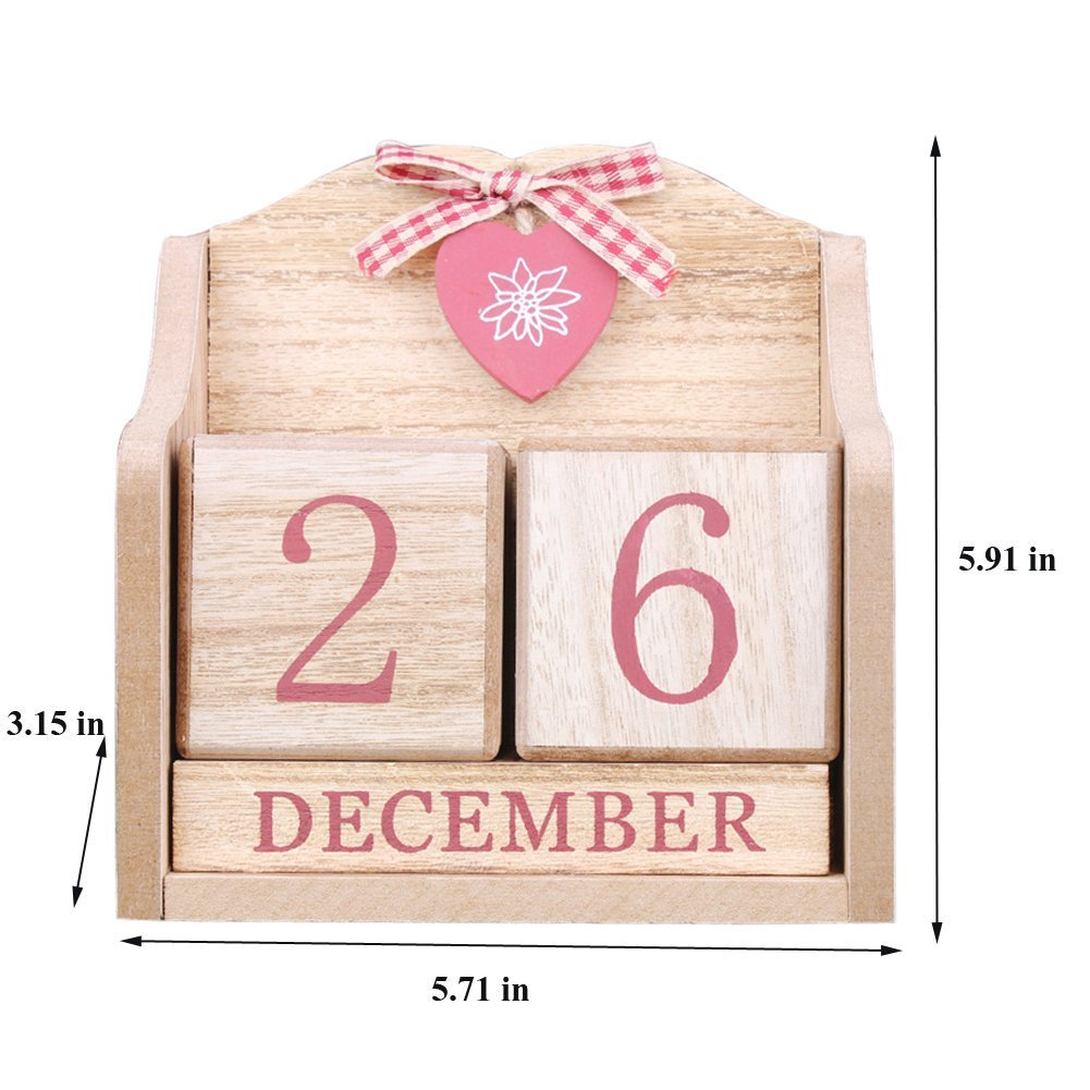 LANGUGU Novelty DIY Wooden Blocks Daily Perpetual Desk Calendar Photography Props Christmas Crafts Home Office Decoration (Pink) by LANGUGU (Image #3)