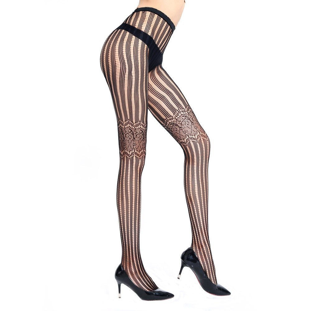 Wesracia Women's Fishnet Thigh High Stockings with Silicone Lace Top (Black-L7)