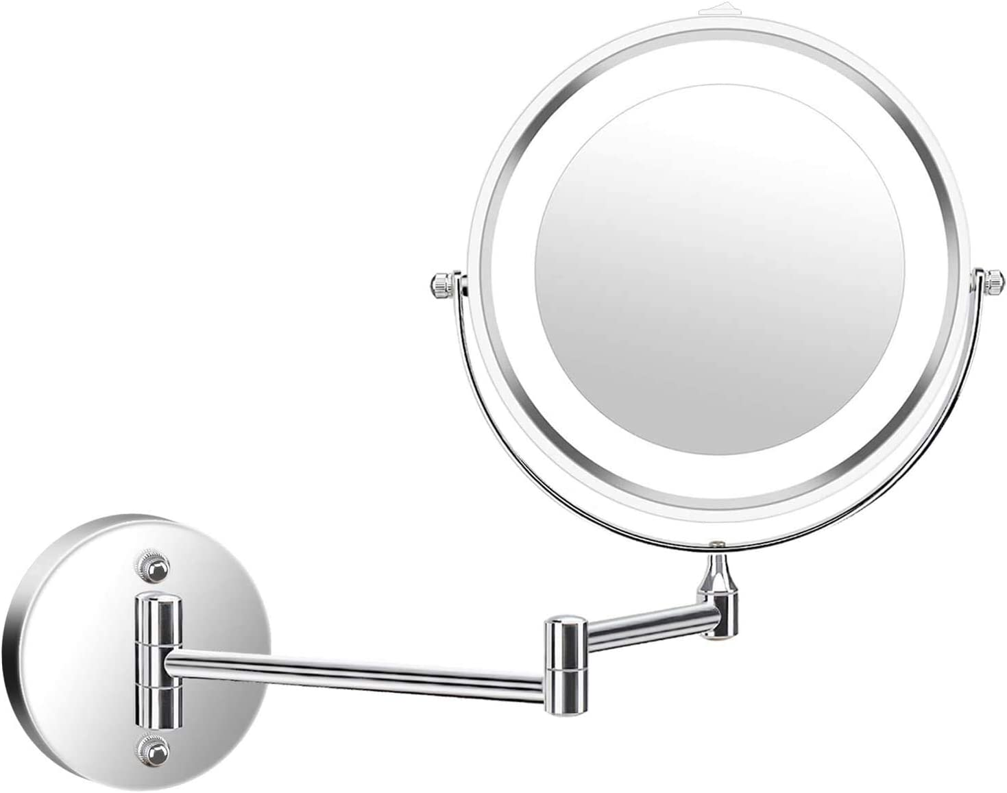Wall Mounted Vanity Makeup Mirror Lighted Double Sided 1X 5X Magnification 360 Degree Swivel Rotation Cosmetic Mirror for Bathroom Hotels, Powered by Batteries Not Included -7 inches