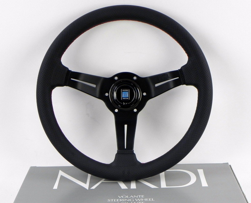 Nardi Steering Wheel - Deep Corn - 330mm (12.99 inches) - Black Perforated Leather with Red Stitching - Classic Horn Button - Part # 6069.33.2093
