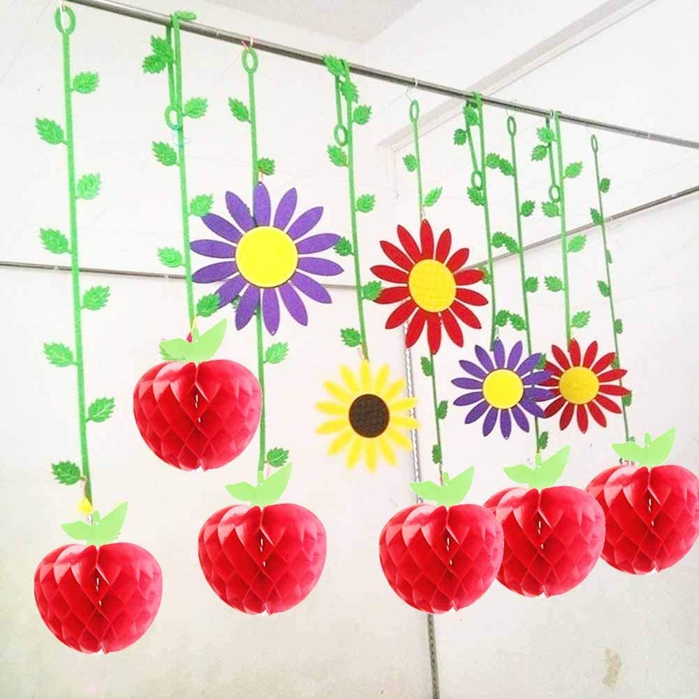 4 Inch EVNEED 12 Pcs Honeycomb Tissue Paper Apple Hanging Paper Apple Fruit pom pom Decoration for School Garden Room Party Decorations Red