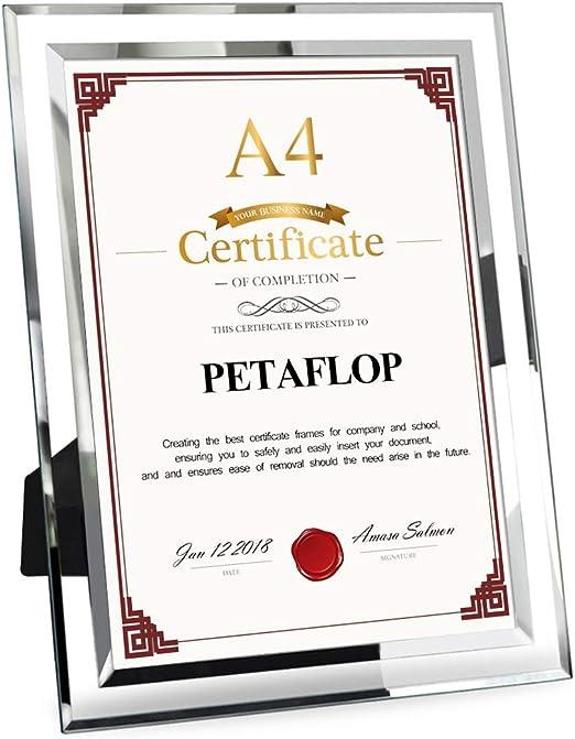 Petaflop A4 Glass Document Frame 21 X 29 7 Cm Diploma Graduation Certificate Frame Silver Border