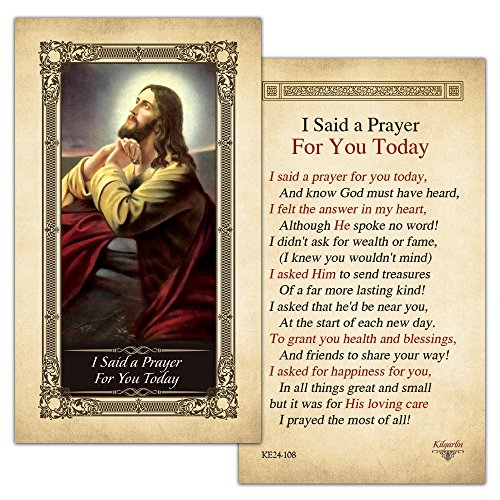I Said a Prayer for you Today Laminated Holy Card - Pack of (Catholic Prayer Card)