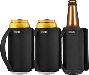 CM Reusable Can Cooler Sleeve Anti-Slip Neoprene Beer Can Bottle Insulator Cover Soda Sleeve with Handle for Camping Picnic Party Beverage Drink Cover, 3 Pcs