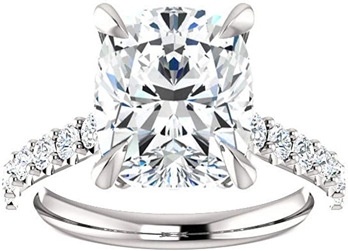 2 CT Elongated Cushion Cut Moissanite Diamond Solitaire Hidden Halo Gift For Her Wedding Anniversary Ring In 10K  14K  18K White Gold Ring